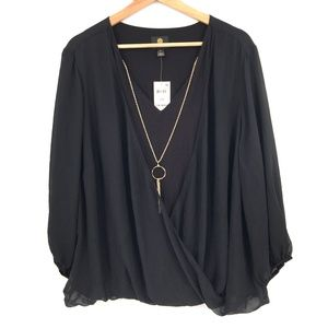 NEW JM Collection Pullover Surplice V-Neck top Layered Blouse Black 2X women's